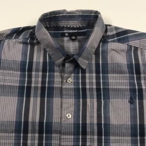 VOLCOM Mens Medium S/S Casual Shirt Blue